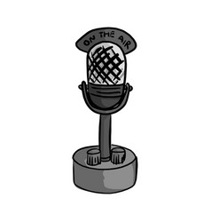 Retro microphone with the word on the air vector