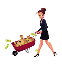sad frustrated woman girl businesswoman pushing vector image
