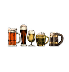 set beer glasses vector image