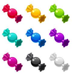 Set candies wrapped lollipop bonbon isometric vector
