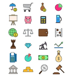 set color economy icons vector image