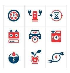 Set color icons of electric car vector