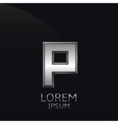 Silver P Letter emblem vector
