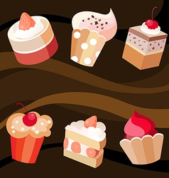 Six cakes set vector