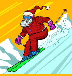 skier day rides from mountain santa claus vector image