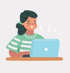 smart little girl using her laptop vector image