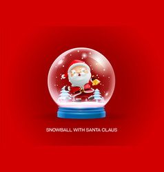 Snow globe ball with santa claus merry christmas vector