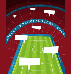 Soccer stadium with speech bubble vector