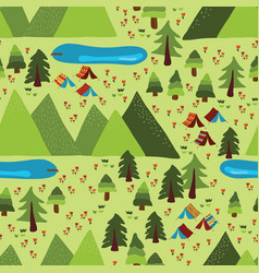 summer mountain camping seamless pattern vector image