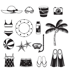 Summer Objects Icons Set Monochrome vector image