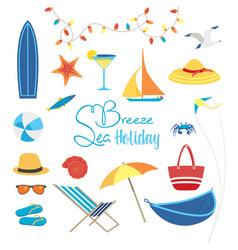 Summer sea beach fun rest icon set flat vector