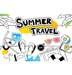 Summer travel doodle symbol and objects icon vector