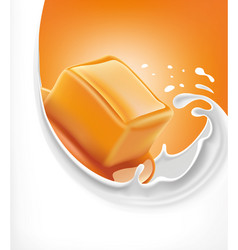 Sweet caramel candy on milk splash vector