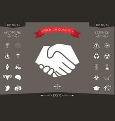 symbol of handshake in circle sign vector image