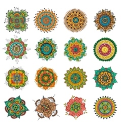 Tattoo henna mandala set vector