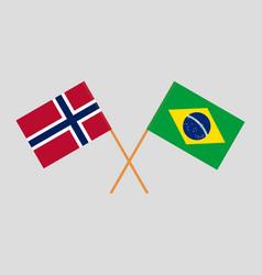The brazilian and norwegian flags vector