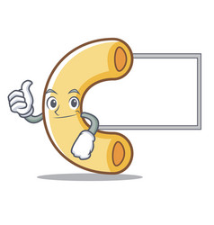 Thumbs up with board macaroni character cartoon vector