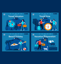 travel vacation flat landing pages set vector image
