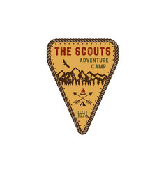 Traveling outdoor badge scout adventure camp vector