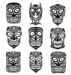 tribal indian totem scary halloween face masks vector image