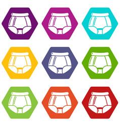 Underpants retro icons set 9 vector
