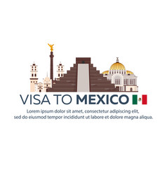 Visa to mexico document for travel flat vector