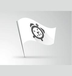 white flag with black alarm clock vector image