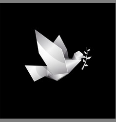 white origami flying dove with branch on black vector image