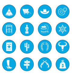 Wild west cowboy icon blue vector