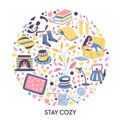winter evening stay cozy banner girl and vector image