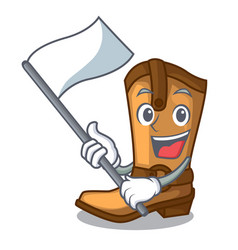 with flag leather cowboy boots shape cartoon funny vector image