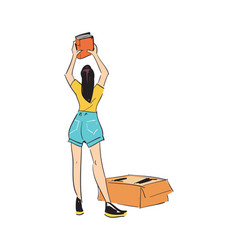 Woman unpacking boxes icon vector