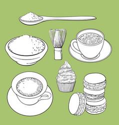 big set of matcha green tea food and accessories vector image