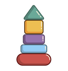 colorful pyramid toy icon cartoon style vector image