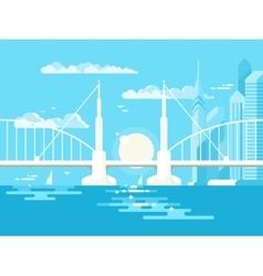 Modern bridge design flat vector image vector image
