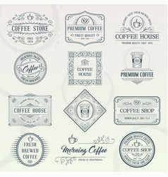set of vintage coffee badges vector image vector image