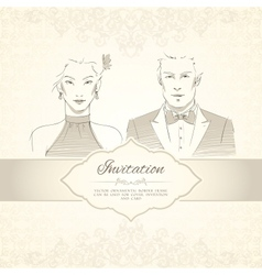 Classical wedding invitation card vector image vector image