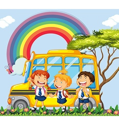 Students standing next to the school bus vector image