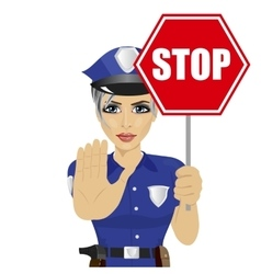 young policewoman holding stop sign vector image vector image