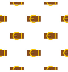 Brown belt with a gold round buckle pattern flat vector