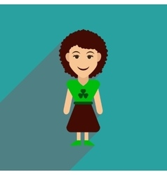 Flat web icon with long shadow irish woman vector