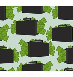 Suitcase with money seamless pattern Case with vector image vector image