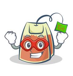 super hero tea bag character cartoon vector image vector image