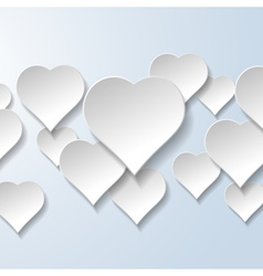 Abstract flying hearts on light blue background vector image vector image