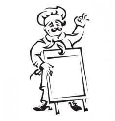 chef with menu board vector image vector image