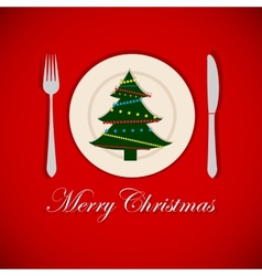 Christmas tree on a platter vector image