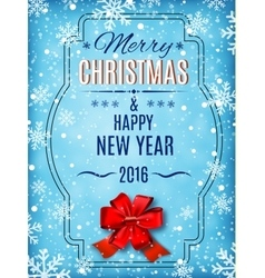 Merry Christmas and Happy New Year text on winter vector image