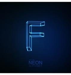 Neon 3D letter F vector image