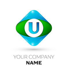 realistic letter u logo in colorful rhombus vector image vector image