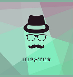 vintage silhouette of bowler mustaches glasses vector image vector image